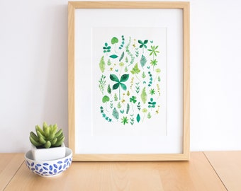 Watercolor Botanical Art Print, Watercolor leaves, botanical collection, plant lover gift, herbs print, Green wall decor