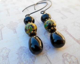 Cherry Brand Vintage Earrings, Vintage Japan, Jet Black Earrings