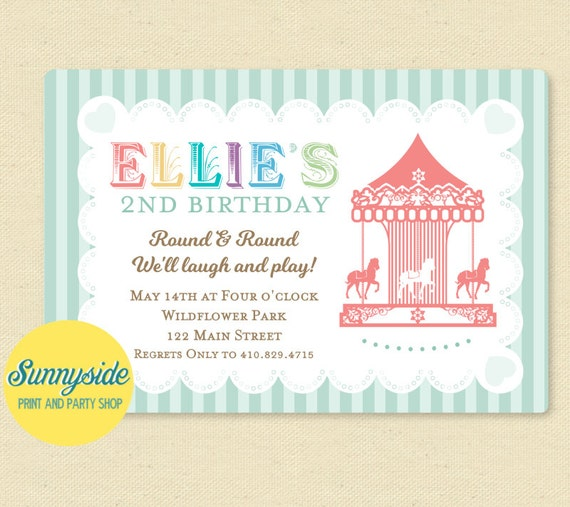 Carousel Birthday Party Invitation Merry Go Round Carnival Invite