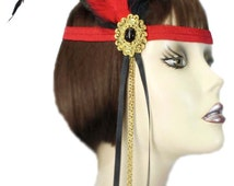 Flapper Headband Scarlet Jewel Red Black Gatsby Roaring 20's Feathered Fascinator Cosplay