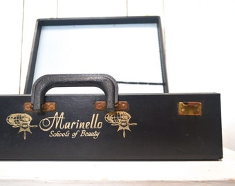 Hard Shell Suitcase 1950s Black Leather Suitcase Mid Century Beauty School Luggage Case Storage Display
