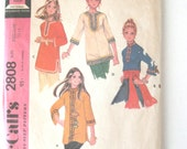 1970s Top Pattern, McCalls 2808, Womens Pullover Tunic Blouse Shirt Sewing Pattern, Boho, Hippie, Misses Size Medium, Bust 34-36