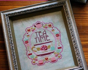 Tea Time cross stitch pattern by The Frosted Pumpkin Stitchery at thecottageneedle.com tea and cookies friendship mom