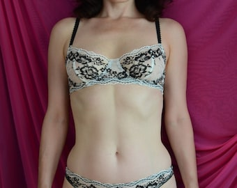 Women Sleepwear & Intimates Bras The Low Lacey Sheer Cup Underwire Cream Bra MADE TO ORDER