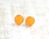 Tangerine Dots Stud Earrings - bright orange post earrings - Hypoallergenic Surgical Stainless Steel Post Earrings