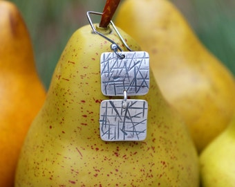 Silver Double Square Earrings -- Hand Cut, Hammered, Textured, Oxidized Fine Silver (.999) Organic Double Squares. Artsy. Edgy. Whimsical.