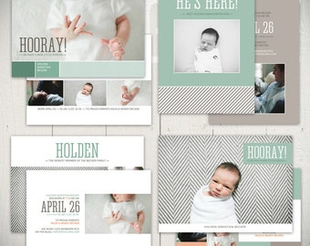 Birth Announcement Templates: Fresh Start Collection - Four 5x7 Card Templates for Baby Boy or Baby Girl