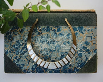 Vintage 1970s // Brass & Mother of Pearl Indian Collar Necklace