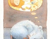 Mouse Dreaming of Cheese - Original Watercolor Painting 6 x 10
