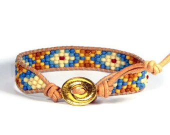Bead Loom Bracelet Leather Wrap Bracelet Blue Brown Diamond Seed Bead Bracelet Boho Bracelet Bohemian Jewelry