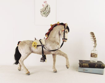 antique victorian horse toy, german horse toy, prancing horse,miniature horse circa 1920