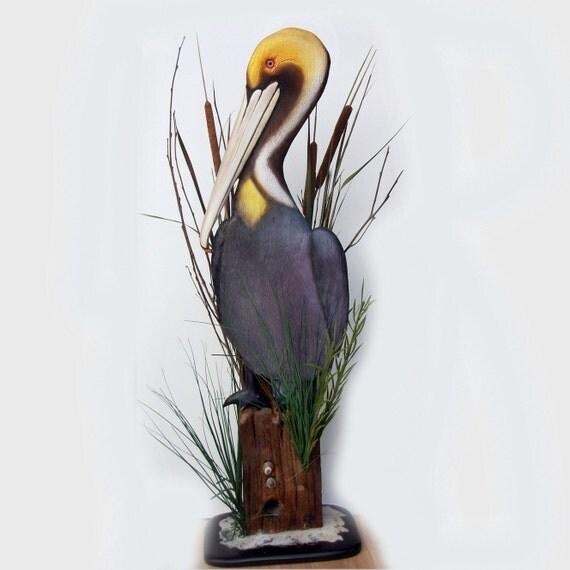 PELICAN art sculpture 36'' wood carving, Pelican sculpture, nautical art, nautical sculpture, Pelican decor, coastal art beach art, bird art