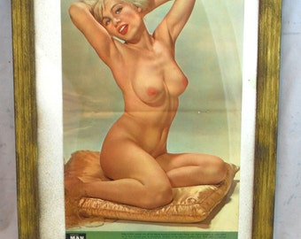 60s Nude Blonde Framed Centerfold Modern Man Magazine - Free US Shipping