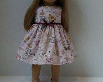 18 Inch Doll-American girl dress: Paris dress for Grace with or without beret