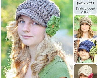 Crochet Hat Pattern, Crochet Pattern, Ribbed Newsboy Hat Pattern 014