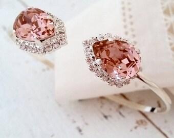 Blush bracelet,Morganite bracelet,Rose gold cuff bracelet,Blush bridal bracelet,Blush bridesmaid gift,Swarovski bracelet,crystal bracelet