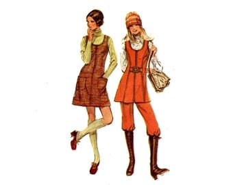 1970s Jumper or Tunic and Pants Pattern U Neck Princess A Line Vest Front Zipper Womens Pants Simplicity 9582 Bust 32 OR 34 Sewing Pattern