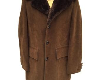 Men's Pendleton Parka, Pen West Sportswear, Brown Faux Suede, Large