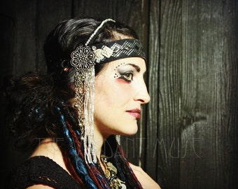 Assuit Tribal Headdress- Glitz- Cut Steel Black Rhinestone Silver and Quartz Fusion Bellydance Headpiece