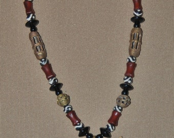 African Brass Pendant and Bead Necklace with Carnelian and Bone Beads