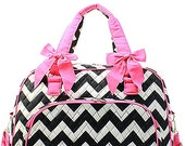 Personalized Duffle Bag Black and Pink Chevron Print