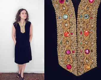 Jeweled Velvet Dress 1960s Pockets Size Med Black + Metallic Threads Sleeveless
