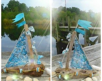 Driftwood Sailboat,Lakeside Decorations, Beach Boat, Nautical Mantel Decor, Coastal Home, By the Sea theme