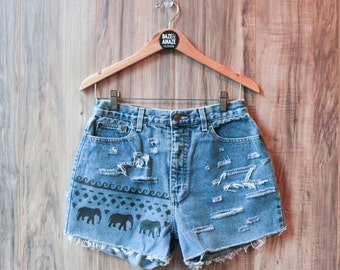 Elephant denim shorts | High waisted denim shorts | Festival shorts | Bohemian shorts | Painted denim | Aztec tribal denim | Ripped denim