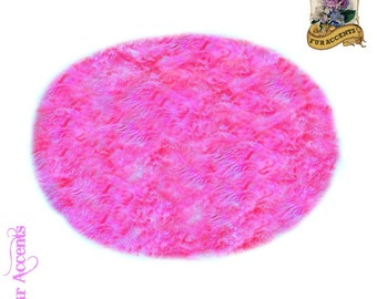 Classic Large Round Shag Rug   Sheepskin Area Rug   Soft Luxury Faux Fur    Living
