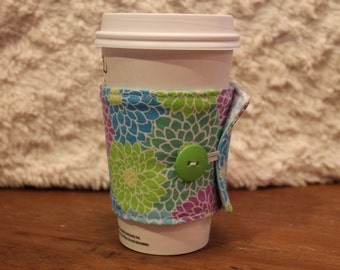 Fabric Coffee Cozy, Lime Green, Purple, Blue Flowers Cozy, Floral, Iced Coffee, Coffee Sleeve, travel cup cozy, gift, Fits Starbucks