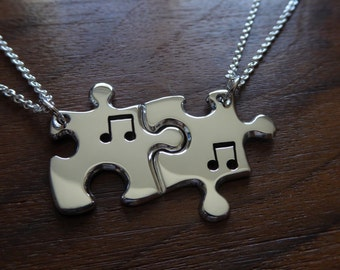 Two Best Friend Puzzle Pendant Necklaces with Music Notes