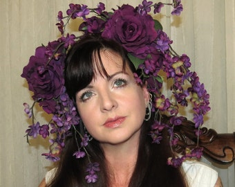PLUM CRAZY Purple Floral Fantasy Headdress Hair Adornment OOAK Floral Headband