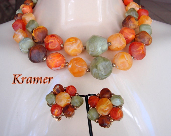 Chunky Kramer Demi Parure / Bead Necklace / Clip Earrings / Luscious Colors / Jewelry / Jewellery