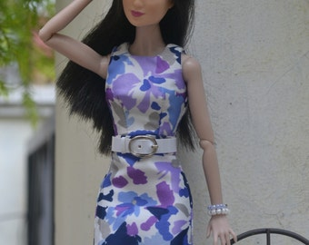 OOAK Violet-hued Floral Sheath Dress set for Poppy Parker and Darla Daley dolls only