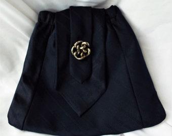 Vintage Handmade Satin Brocade Navy Tie Purse