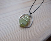 Rockpool Pendant - Silver and Seaglass