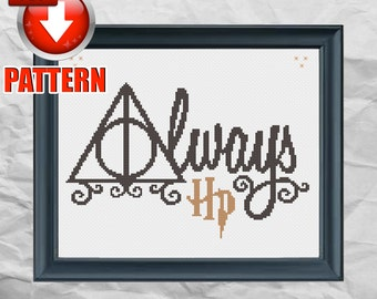 Harry Potter - Deathly Hallows - Nerdy Cross Stitch Pattern PDF - INSTANT DOWNLOAD