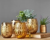 Rustic Boho Table Decor, Apothecary Jar Amber Glass Containers, Vintage Wedding Candle Holders, Boho Henna Lamp Set