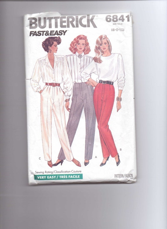 Butterick 6841 Fast and Easy Sewing Pattern 80s Misses and Misses Petite Pants Size 6-8-10