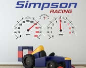 Racing Decal, Racing Wall Decal Personalized, Racing Decor, Boys Name Decal, Speedometer Wall Decal - WD0213