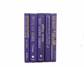 PURPLE INDIGO Books, Old Book Set, Wedding Decor, Centerpiece, Decorative Books, Book Collection, Home Decor, Instant Library
