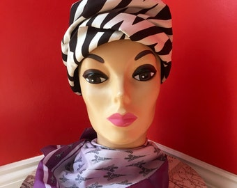 "1960's Vintage ""At First Glam"" Zebra Striped Amy-NYC, Designed for Woodward & Lothrop Mod Hat"
