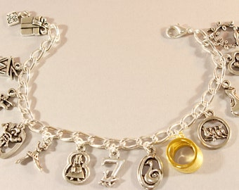 12 Days of Christmas - Holiday Jewelry - Partidge in a Pear Tree - Holiday Charm Bracelet  - Christmas Jewelry - Christmas Bracelet  Festive