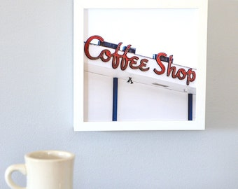 Coffee Shop Photography, Color Photography Print, Mid Mod Kitchen Decor, Dining Room Wall Art, Affordable Art