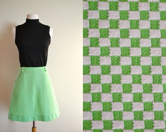 Vintage Lime Green Checkered Skater Skirt / Retro A Line Skirt 60s High Waisted Mini Skirt