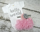 NEWBORN GIRL Take Home Outfit / Hello World Bodysuit / Pink Bloomers Pink & Grey Headband Set / Baby Girl Hospital Outfit / Baby Take Home