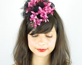 Fascinator Headpiece Silk Pink Orchid Flowers Cascading With Black Tule Veil and Satin - Cocktail Hat, Wedding, Hen Night Pillbox Hat