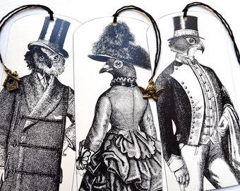 Bookmarks - Set of 3 - Steampunk Birds & Bronze Charms - Handmade