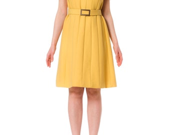 1960s MOD Yellow Belted Dress