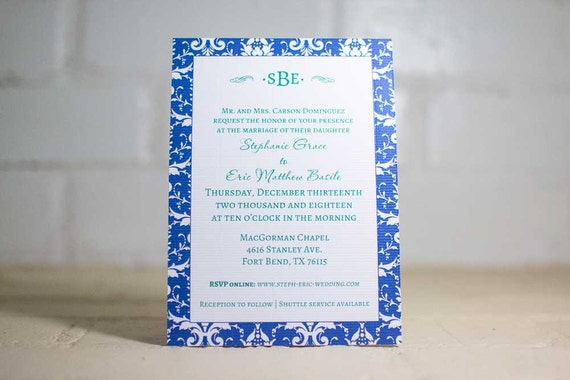 Stephanie Invitation Suite, Blue and Green Damask Invitation Kit,  Edwardian Wedding Invites